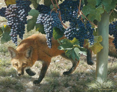 Between The Vines – Red Fox- Signed By The Artist								 – Paper Lithograph – Limited Edition – 76 A/P – 22 3/4 x 28 1/2
