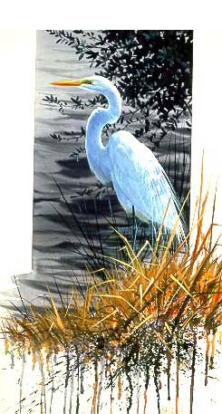 Royal Dignity – Great Egret- Signed By The Artist – PaperLithograph  – Limited Edition  – 76A/P  –  25x15