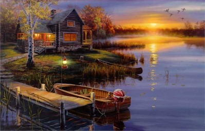 Autumn At The Lake- Signed By The Artist								 – Paper Lithograph – Limited Edition – 1250 S/N – 17 1/4 x 27