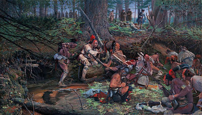 Ambush: 1725 At Lovewell Pond- Signed By The Artist								 – Canvas Giclee – Limited Edition – 15 S/N – 24 x 42