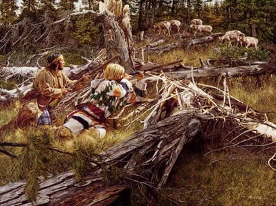 Hunting The Bighorn- Signed By The Artist								 – Canvas Giclee – Limited Edition – 180 S/N – 27 x 36