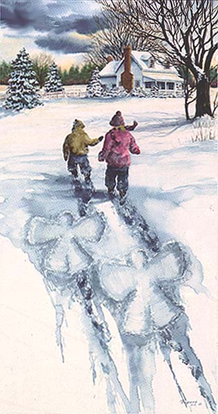 Snow Angels- Signed By The Artist – PaperLithograph  – Limited Edition  – 999S/N  –  30x15 3/4