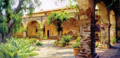 The Mission At San Juan Capistrano- Signed By The Artist								 – Canvas Giclee – Limited Edition – 5 A/P – 18 x 36 –