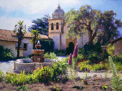 Springtime In The Mission Garden- Signed By The Artist								 – Canvas Giclee – Limited Edition – 275 S/N – 10 x 13