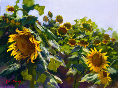 Sunflowers Near Cortona- Signed By The Artist								 – Canvas Giclee – Limited Edition – 95 S/N – 9 x 12