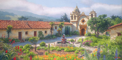 Little Old Mission By The Sea, Circa 1940- Signed By The Artist – CanvasGiclee – Limited Edition – 75S/N – 14x28