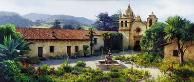 The Mission Courtyard- Signed By The Artist								 – Paper Lithograph – Limited Edition – A/P – 13 3/4 x 32
