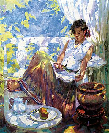 Reading On The Veranda- Signed By The Artist – CanvasGiclee  – Limited Edition  – 95S/N  –  36x30