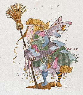 The Cleaning Faerie – Etching- Signed By The Artist								 – Paper Etching – Limited Edition – 100 S/N – 4 3/4 x 4