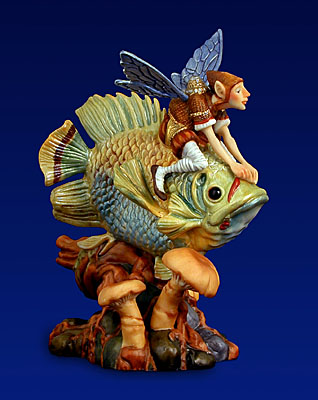 Forest Fish Rider- Sculpture Porcelain – 3-Dimensional – 2500 Limited – 5″ High