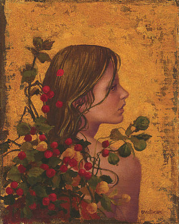 Portrait With Red Berries- Signed By The Artist								 – Canvas Giclee – Limited Edition – 325 S/N – 12 x 10
