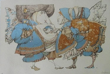 Conversation Around Fish – Etching- Signed By The Artist – PaperEtching – Limited Edition – 70S/N – 12x16 –