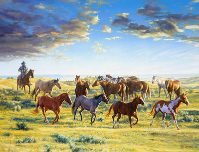 The Horse Wrangler Gather'd The Morning Mounts- Signed By The Artist – CanvasGiclee  – Limited Edition  – 75S/N  –  28x37