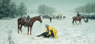 June 9th In The Black Hills 'Pard, All I Remember… 'Twas A Cold Som-Bitch- Signed By The Artist								 – Canvas Giclee – Limited Edition – 50 S/N – 22 x 48