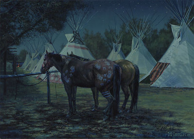 Relay Horses In Camp, Crow Fair 2000- Signed By The Artist – CanvasGiclee  – Limited Edition  – 75S/N  –  10x14