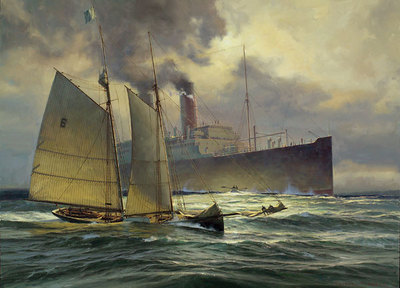 Returning The Pilot, 1900- Signed By The Artist – CanvasGiclee – Limited Edition – 50S/N – 24x32 –