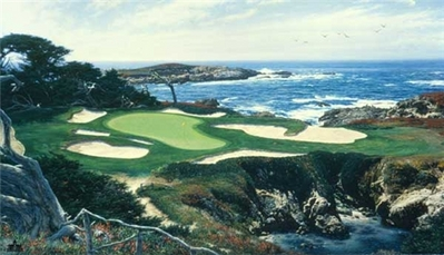The 15th At Cypress Point- Signed By The Artist – CanvasLithograph – Limited Edition – 550S/N – 18x36