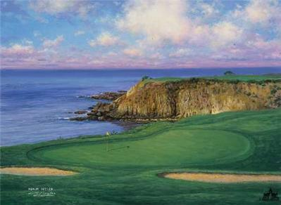 The 8th At Pebble Beach- Signed By The Artist – CanvasLithograph – Limited Edition – 195S/N – 9x12