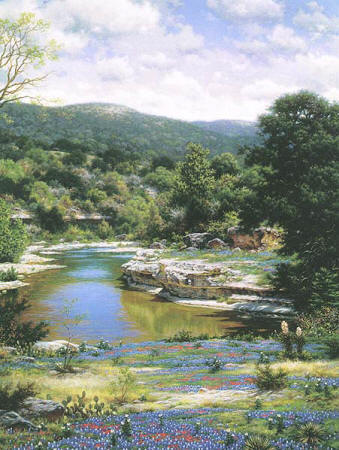 Bluebonnets Along The Frio- Signed By The Artist								 – Canvas Giclee – Limited Edition – 95 S/N – 40 x 30
