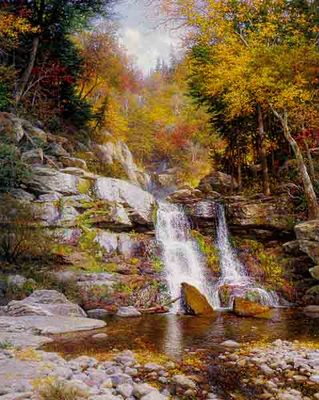 Crystal Cascades- Signed By The Artist – CanvasLithograph – Limited Edition – 95S/N – 28x22 –