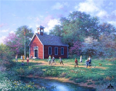 The Little Red Schoolhouse- Signed By The Artist – CanvasLithograph – Limited Edition – 95S/N – 22x28 –