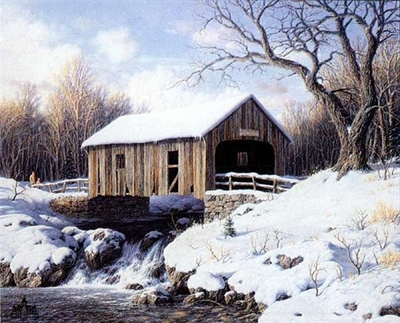 Snow Covered Bridge- Signed By The Artist								 – Paper Lithograph – Limited Edition – 1600 S/N – 18 x 22