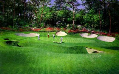 13th Hole At Augusta- Signed By The Artist								 – Paper Lithograph 								 – Limited Edition 								 – 76 A/P 								 –  								14 3/4 x 22