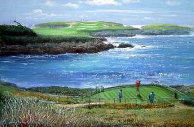 Cypress Point – 16th Hole- Signed By The Artist								 – Paper Lithograph – Limited Edition – 76 A/P – 20 x 32 –