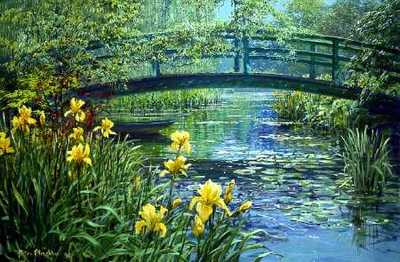 Monet's Bridge- Signed By The Artist – PaperLithograph – Limited Edition – 950S/N – 18 3/4x28 1/4