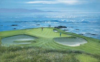 Pebble Beach – 7th Hole- Signed By The Artist – PaperLithograph – Limited Edition – 76A/P – 20x32