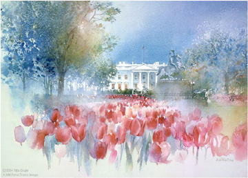 White House Spring- Signed By The Artist								 – Paper Lithograph – Limited Edition – 2500 S/N – 18 x 25