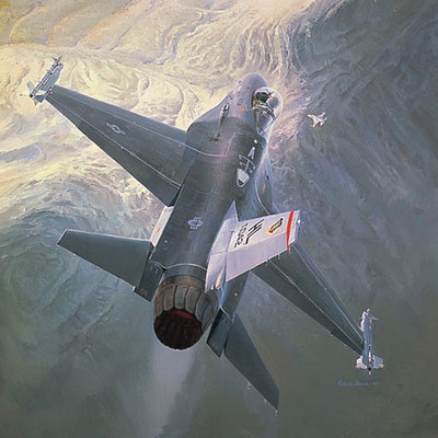 Sunrise Encounter (F-16)- Signed By The Artist – PaperLithograph  – Limited Edition  – A/P  –  13 1/4x32