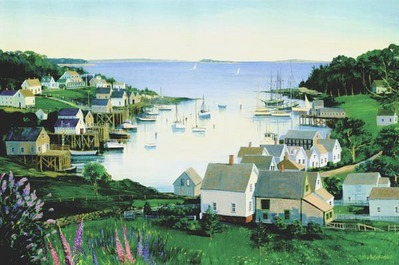 View Of The New Harbor- Signed By The Artist – PaperLithograph  – Limited Edition  – 350S/N  –  14 5/8x22
