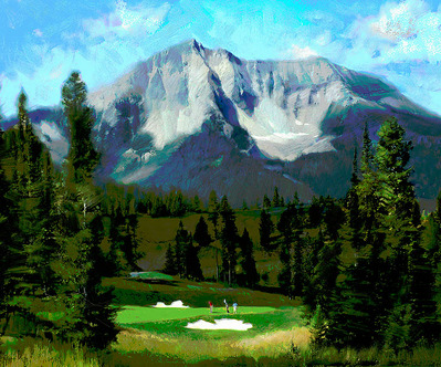 16th Hole, Moonlight Basin, Big Sky- Signed By The Artist								 – Canvas Giclee 								 – Limited Edition 								 – 50 S/N 								 –  								20 x 24