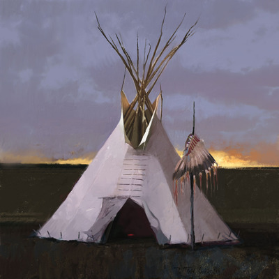 Headdress Lodge- Signed By The Artist – CanvasGiclee  – Limited Edition  – 50S/N  –  24x24