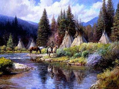 A Camp Along The River- Signed By The Artist								 – Canvas Lithograph – Limited Edition – 395 S/N – 22 x 28