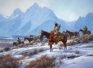 Apsaalooke Horse Hunters- Signed By The Artist – CanvasGiclee  – Limited Edition  – 150S/N  –  32x45