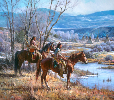 Apsaalooke Sentinels- Signed By The Artist – CanvasGiclee  – Limited Edition  – 35S/N  –  42x48