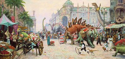 Dinosaur Boulevard – Remarqued- Signed By The Artist – PaperLithograph  – Limited Edition  – 250S/N  –  15 7/8x34