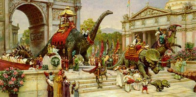 Dinosaur Parade – Remarqued- Signed By The Artist – PaperLithograph  – Limited Edition  – 250S/N  –  17x34