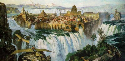 Waterfall City – Remarqued- Signed By The Artist – PaperLithograph  – Limited Edition  – 250S/N  –  15 1/2x31 3/4