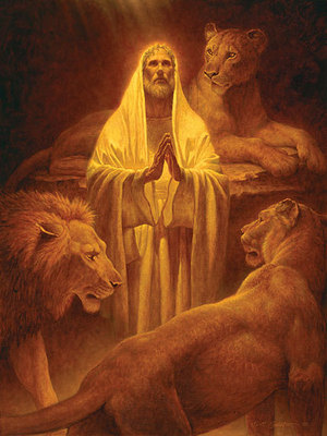 Daniel In The Lion's Den- Signed By The Artist – CanvasGiclee – Limited Edition – 100S/N – 28x21