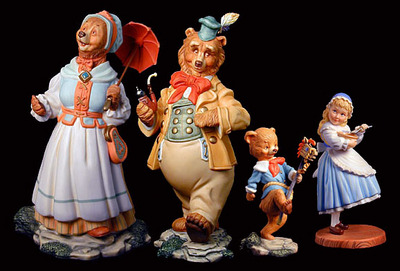 Goldilocks And The Three Bears – Porcelain Figurine Set- SculpturePorcelain – Limited Edition – 1950Numbered – 73/4″ High