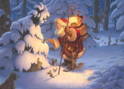 Woodland Santa- Signed By The Artist – CanvasGiclee – Limited Edition – 200S/N – 15x21