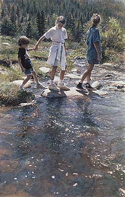 Stepping Stones- Signed By The Artist – PaperLithograph – Limited Edition – 999S/N – 28 1/4x18 –