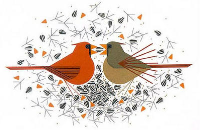 Cardinal Courtship- Signed By The Artist – PaperSerigraph  – Limited Edition  – 550S/N  –  11x17  –
