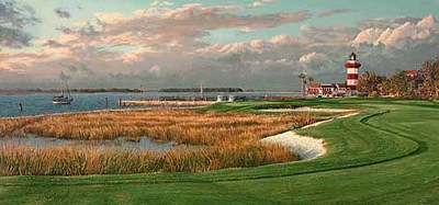 Harbour Town Golf Links, Hilton Head, South Carolina – 18th Hole- Signed By The Artist								 – Paper Lithograph – Limited Edition – 50 A/P – 15 3/4 x 33