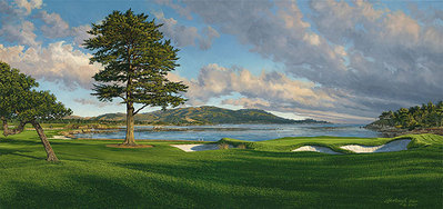 18th Hole, Pebble Beach Golf Links- Signed By The Artist								 – Canvas Giclee 								 – Limited Edition 								 – 500 S/N 								 –  								17 x 36
