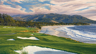 2010 U.S. Open Championship, The 9th Hole, Pebble Beach Golf Links- Signed By The Artist								 – Canvas Giclee – Limited Edition – 500 S/N – 21 x 36