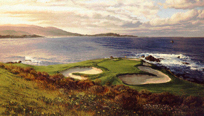 Pebble Beach Golf Links – The 7th Hole- Signed By The Artist								 – Paper Lithograph – Limited Edition – 50 A/P – 15 3/8 x 27